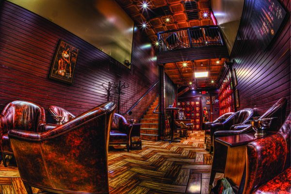 The private two-story lounge provides comfortable seating and televisions.